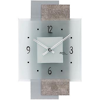 Quarzwanduhr Wanduhr Quarz Design-Kunstleder auf Holzrückwand Mineralglas