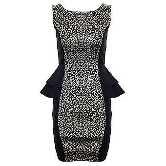 Vestido de partido senhoras leopardo de ouro sem mangas impressão dupla Peplum Womens Short