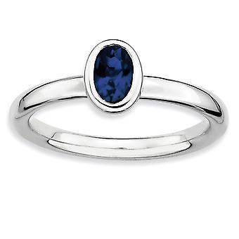 925 Sterling Silver Bezel Polished Rhodium-plated Stackable Expressions Oval Created Sapphire Ring - Ring Size: 5 to 10