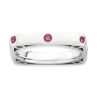 3.25mm 925 Sterling Silver Bezel Stackable Expressions Polished Created Ruby Square Ring Jewelry Gifts for Women - Ring