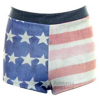 Ladies Denim Effect Faded USA Flag Print Hot Pants Women's Stretch Shorts