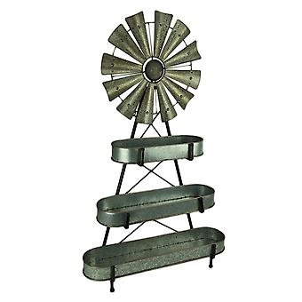 Rustic Metal 3 Tier Windmill Standing or Hanging Sculpture with Display Baskets