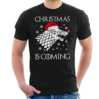 Christmas Is Coming Stark Direwolf Sigil Game Of Thrones Men's T-Shirt