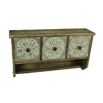 Shabby Wood and Tin Wall Shelf With 3 Drawers and Towel Bar
