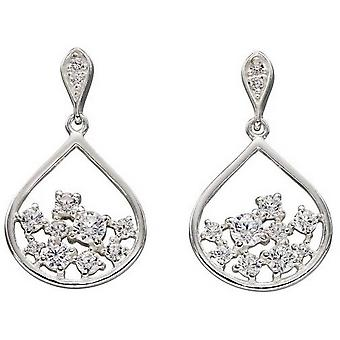 Elements Silver Scattered Cubic Zirconia Earrings - Silver