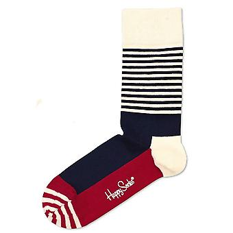 Happy Socks Stripe Half Socks - Blue/White
