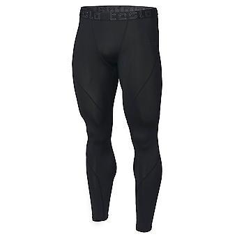 TSLA Tesla MUP19 Cool Dry Contour-Stitching Compression Pants  - Black/Black