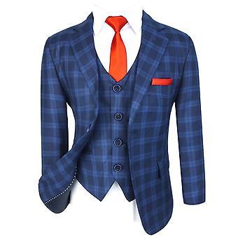 Flamingo Boys - Dark Blue, Slim Fit cut, Plaid Suit