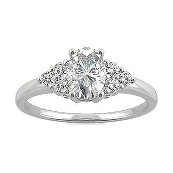 14K White Gold Moissanite by Charles & Colvard 7x5mm Oval Engagement Ring, 1.08cttw DEW