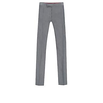 Dobell Mens Silver Grey Trousers Regular Fit