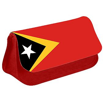 Timor Leste Flag Printed Design Pencil Case for Stationary/Cosmetic - 0176 (Red) by i-Tronixs