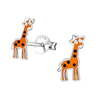 Children's Sterling Silver Giraffe Stud Earrings