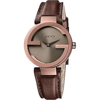 Gucci Ya133504 in elkaar grijpende G kleine bruine wijzerplaat dames lederen horloge