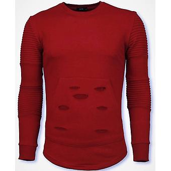 Ribbel Schoulder Sweater-Damaged Pocket Sweatshirt-Red