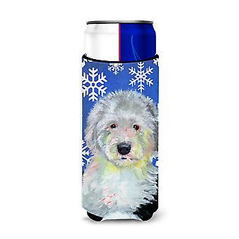 Old English Sheepdog Winter Snowflakes Holiday Ultra Beverage Insulators for sli