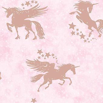 Children's Unicorn Wallpaper Metallic Teal Silver Pink Rose Gold Holden Decor