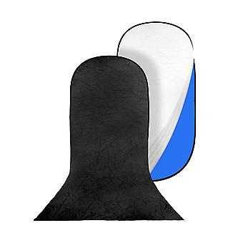 BRESSER BR-TR36 Blau/Grüner Falthintergrund mit schwarz/weißem Überzug mit Schleppe 140x200+200cm