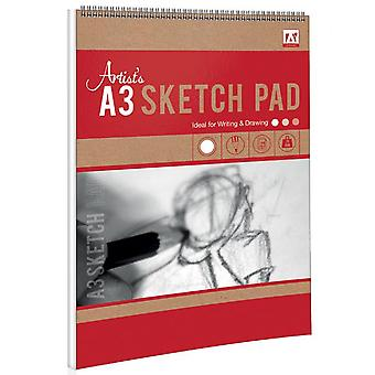 A3 Wirebound Artists Sketch Pad 25 Sheets 70gsm
