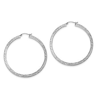 925 Sterling Silver Hinged post Sparkle Cut 3x55mm Square Tube Hoop Oorbellen Sieraden Geschenken voor vrouwen