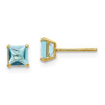 14k Yellow Gold Polished Blue Topaz 4mm Square Post Earrings Jewelry Gifts for Women