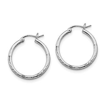 925 Sterling Silver Polished Hinged post Rhodium-plated 2mm Satin and Sparkle-Cut Hoop Earrings
