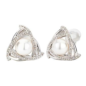 Traveller clip earring - 10mm white pearl - rhodium plated - 114175