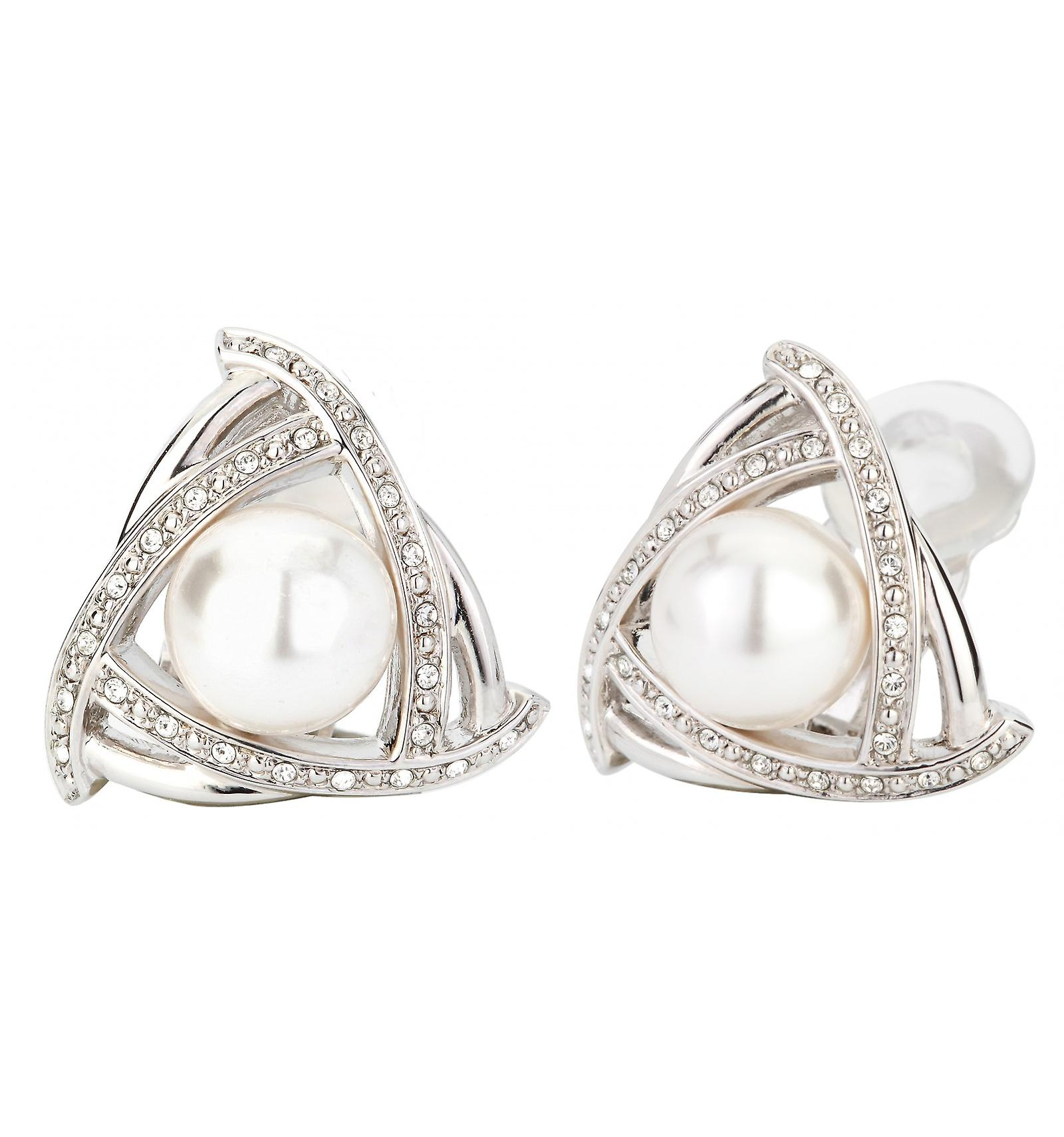 Reiziger clip Earring-10mm witte parel-rhodium plated-114175