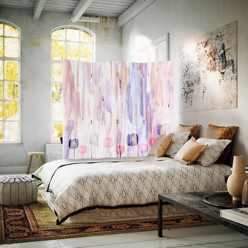 Diviseur de chambre, 4 panneaux, double-sided, toile, fleurs peintes 3