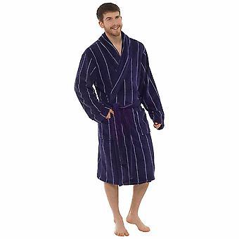 男士细条纹珊瑚羊毛浴袍敷料