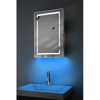Gabinete de baño LED de audio ambiental con sensor y afeitadora k350aud
