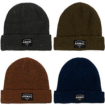 Animal Mens Allex Knitted Winter Warm Roll Up Woolly Chunky Knit Beanie Hat