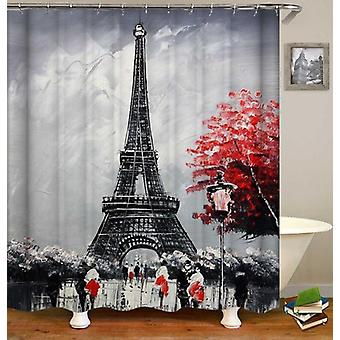 Eiffel Tower Black And Red Art Shower Curtain