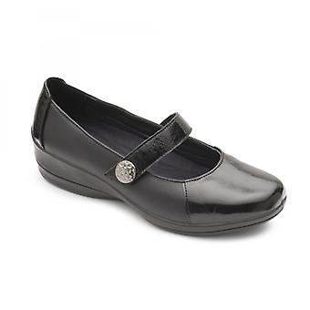 Padders Past Ladies Leather Wide (e/2e) Shoes Black