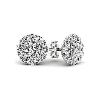 Igi gecertificeerd 0.75 ct natuurlijke diamant halo stud oorbellen in 10k wit goud