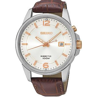 Seiko Kinetic Silver Stainless Steel Brown Leather White Dial Men's Watch SKA669J1