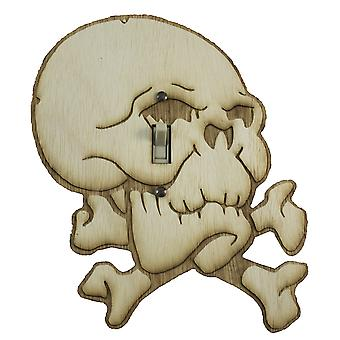 Skull and bones switch plate - raw wood - 6.8