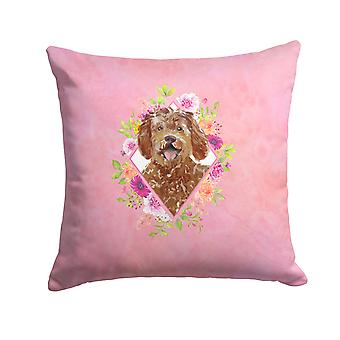 Labradoodle Pink Flowers Fabric Decorative Pillow