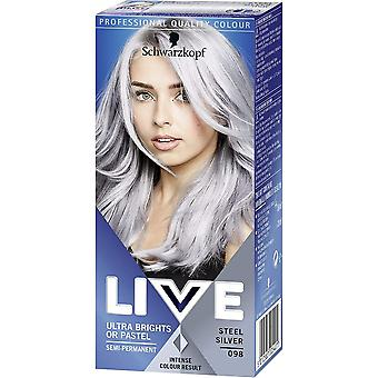 Schwarzkopf Live Ultra Brights Or Pastel-Stahl Silber 098