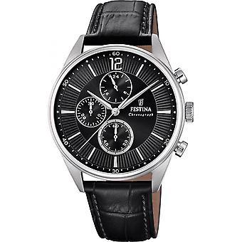 Zeitlose Festina Chrono-F20286-4-Uhr - Armbanduhr Chronograph Leder schwarz Mann