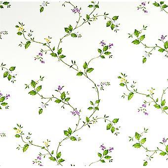 Purple Flower Trail Wallpaper Vintage Dollhouse Lilac Cream Vinyl Fine Decor