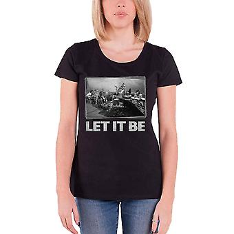 The Beatles T Shirt Let It Be Studio Session Official Womens Skinny Fit Black