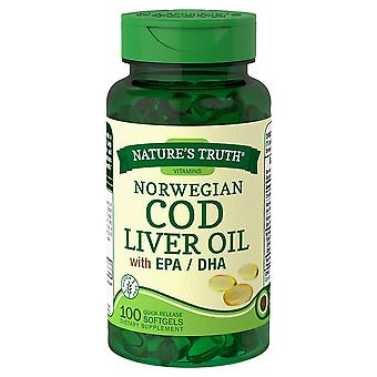 Nature's truth norwegian cod liver oil with epa/dha, softgels, 100 ea
