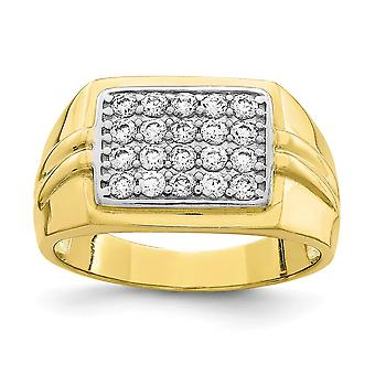 10k With Rhodium CZ Cubic Zirconia Simulated Diamond Mens Ring Jewelry Gifts for Men