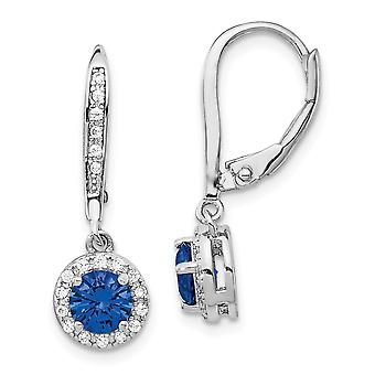 7.66mm Cheryl M 925 Sterling Silver Created Blue Spinel Leverback Earrings Jewelry Gifts for Women