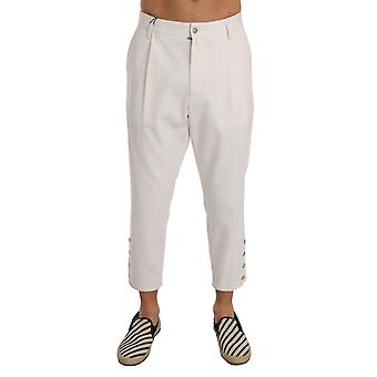 White Cotton Casual Cropped Pants