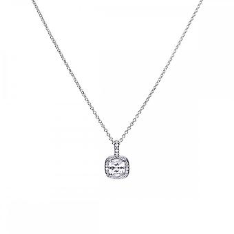 Diamonfire Silver & White Zirconia Pave Set Square Solitaire Pendant