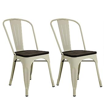 Charles Bentley Pair of Industrial Wood Top Dining Chairs Cream