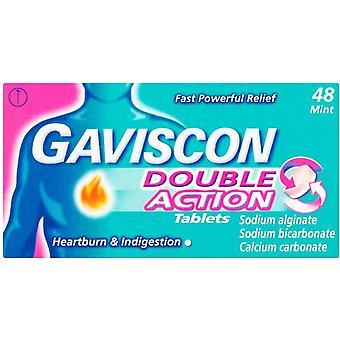 Gaviscon العمل المزدوج أقراص النعناع حزمة من 48
