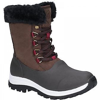Muck Boots Ladies Waterproof Brown Arctic Apres Leather Vibram Grip Lace Short Boots