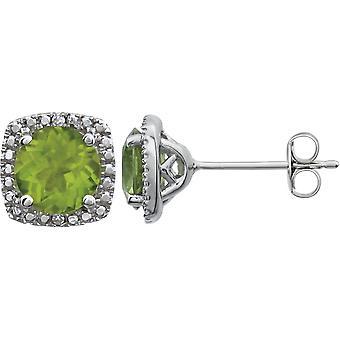 925 Sterling Silber Runde 6mm Peridot poliert .015 Dwt Diamant Ohrringe Schmuck Geschenke für Frauen